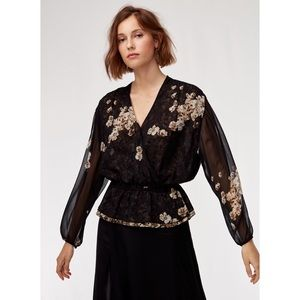 Aritzia Little Moon Lunaria Blouse Black Floral